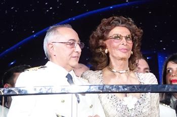 Kapitän Raffaele Pontecorvo und Taufpatin Sophia Loren